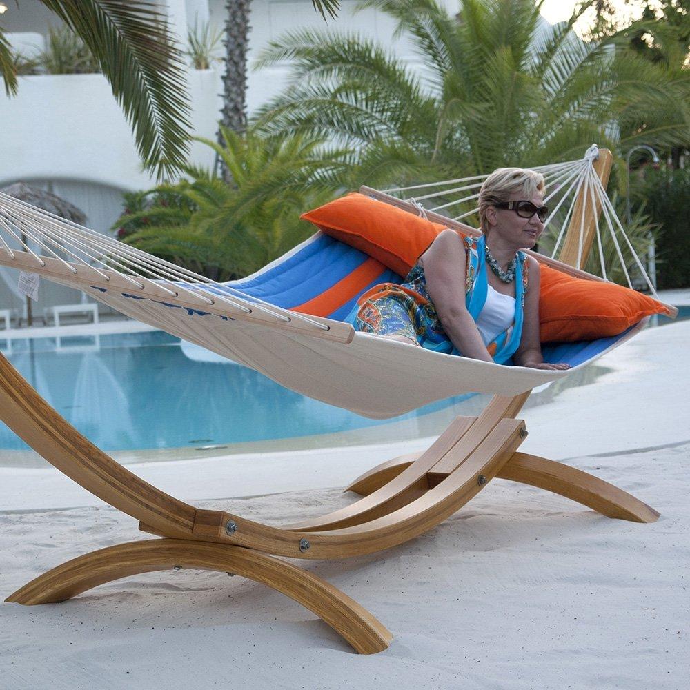 Luxus Hängematten-Set Chico Siesta aus Eschenholz mit gefütteter, wetterfester Stabhängematte Canada orange-blau mit Kissen