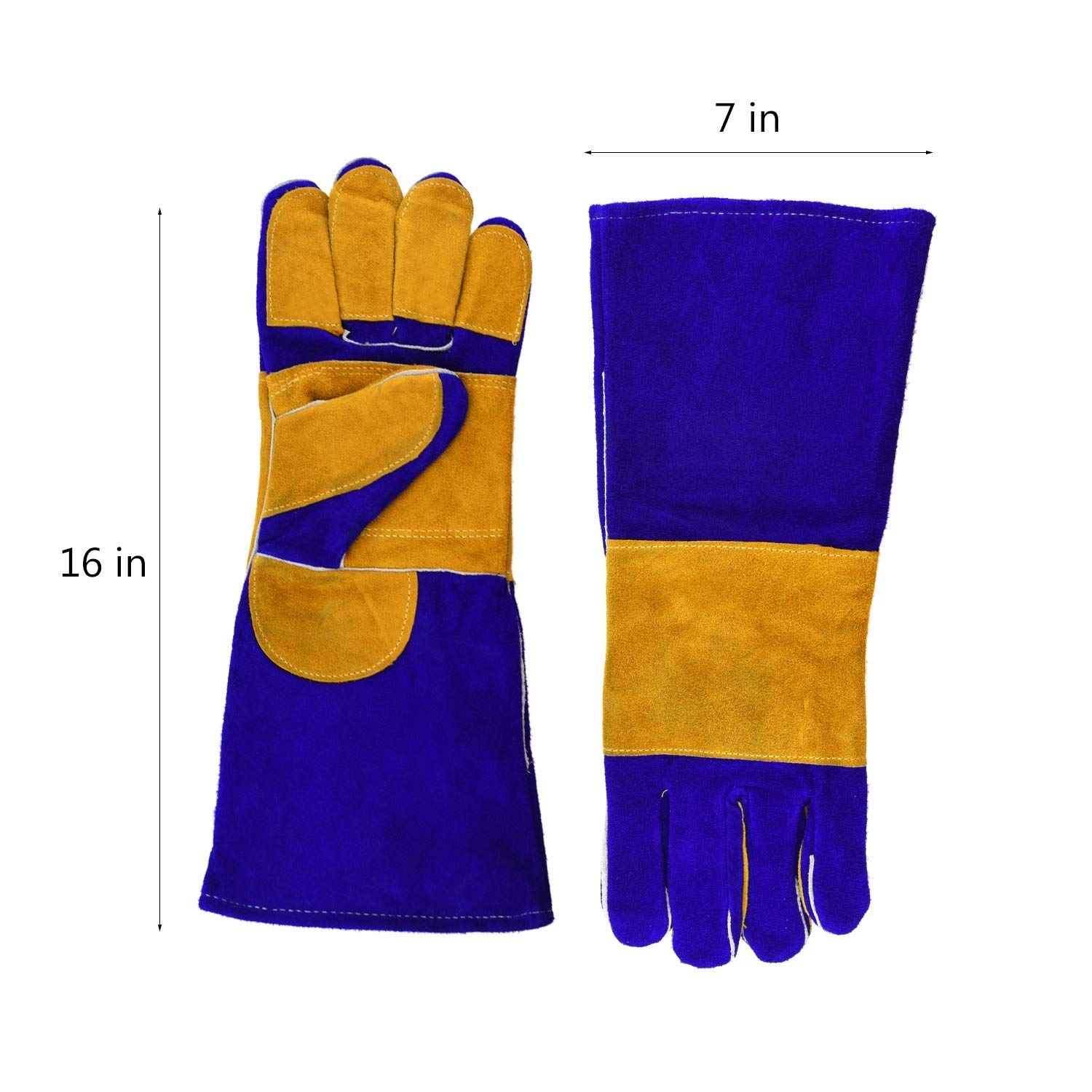 AINIYF Heavy Duty Heat Resistant & Flame Retardant Welding & BBQ Gloves, Premium Cowhide Leather, Long 15.7 Inch Forearm Protection, Blue, Size Large by AINIYF (Image #5)