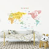 DECOWALL カラフルな世界地図 ウォール ステッカー デコ (特大) DLT-1616N
