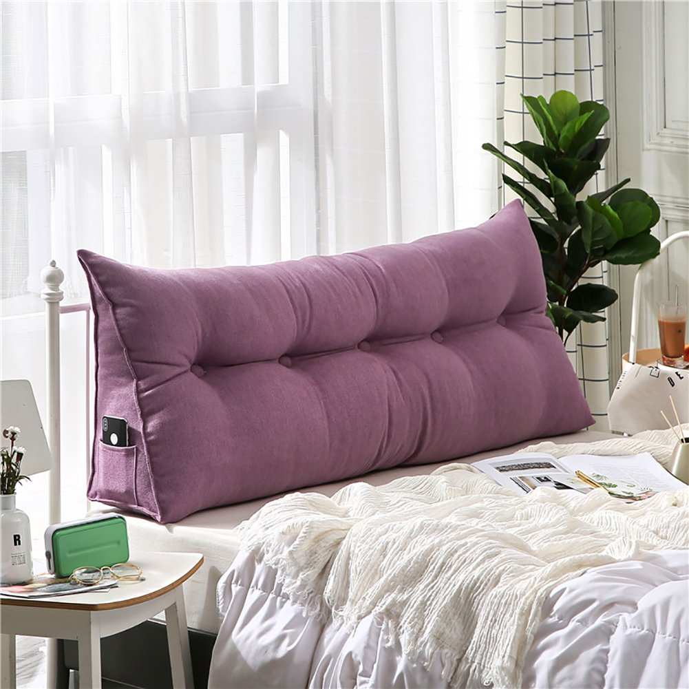 VERCART Velvet Sofa Bed Large Soft Upholstered Headboard Filled Wedge Cushion Bed Backrest Positioning Support Reading Pillow Office Lumbar Pad with Removable Cover Purple 39x8x20 Inches