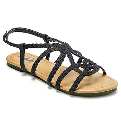 7443f341b1b0 Trary Flat Sandals - Braided Strap Open Toe Summer Sandals for Women Black  05
