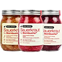 Urban Platter Assorted Sauerkraut, 500g / 17.64oz [Pack of 3, Pickled Probiotic Cabbage with Carrot, Cabbage with Beetroot & Cabbage]