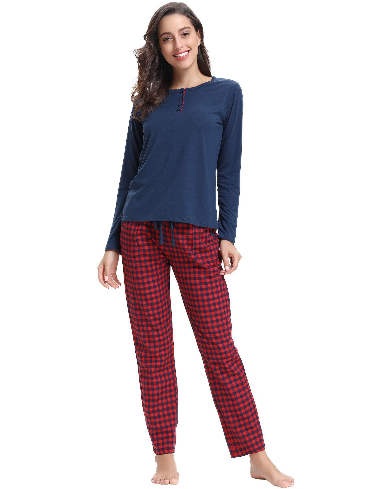 Aibrou Pijamas Mujer Algodon 2 Piezas Conjuntos Sexy e Elegante Manga Pantalon Largos,Suave Comodo