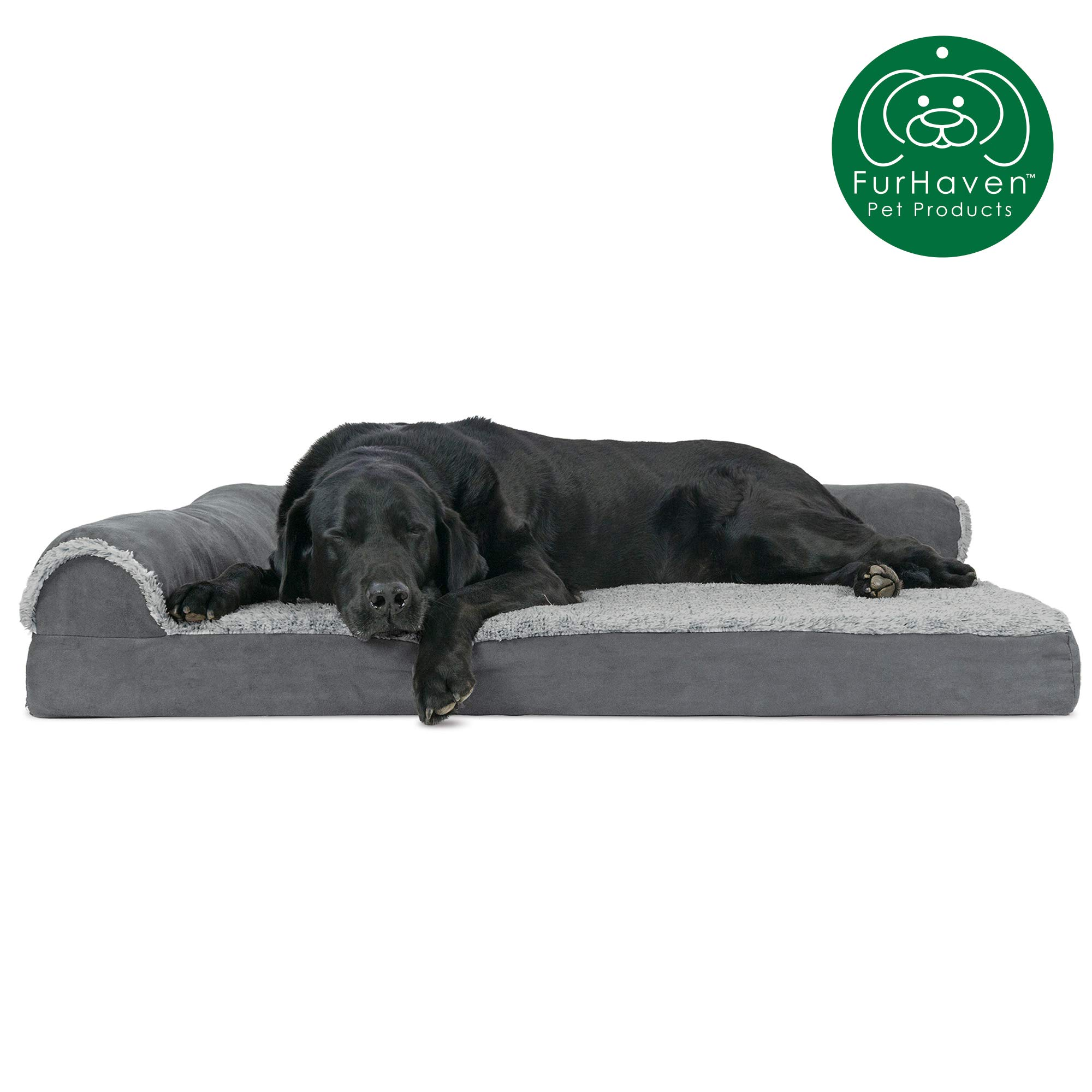 Furhaven Pet Dog Bed   Deluxe Orthopedic Two-Tone Plush Faux Fur & Suede L Shaped Chaise Lounge Living Room Corner Couch Pet Bed w/ Removable Cover for Dogs & Cats, Stone Gray, Jumbo by Furhaven
