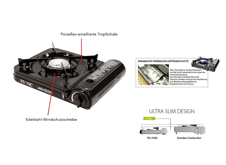 Color Negro Hornillo de Gas port/átil con malet/ín de Transporte RSonic Potencia de 2,75 kW
