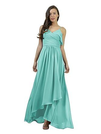 Alicepub Asymmetric Chiffon Bridesmaid Dresses Long Formal Party Evening Dress Spaghetti, Aqua Blue, US0