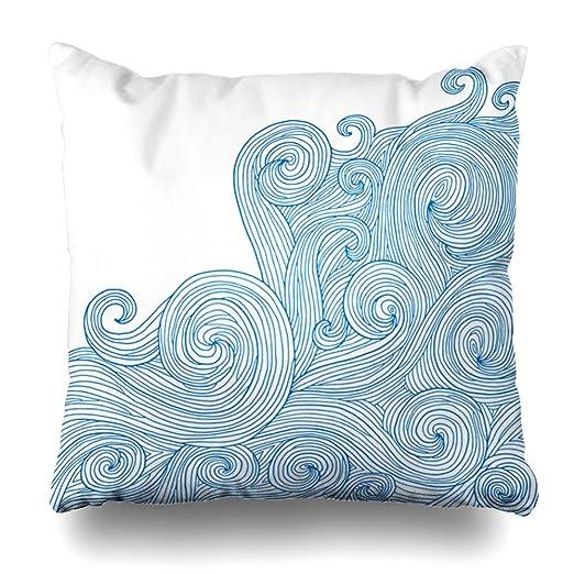 Ahawoso Funda de almohada decorativa cuadrada 16 x 16 Mapa ...
