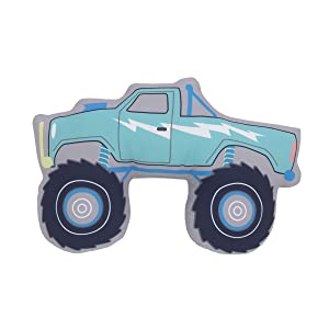 Carter's Teal, Blue & Grey Monster Truck Shaped Toddler Pillow, Teal, Blue, Grey