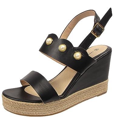 d271c5736978c4 Womens Ladies Platform Wedge High Heel Pearl Studded Sandals Espadrilles  Sizes (UK 3 EU