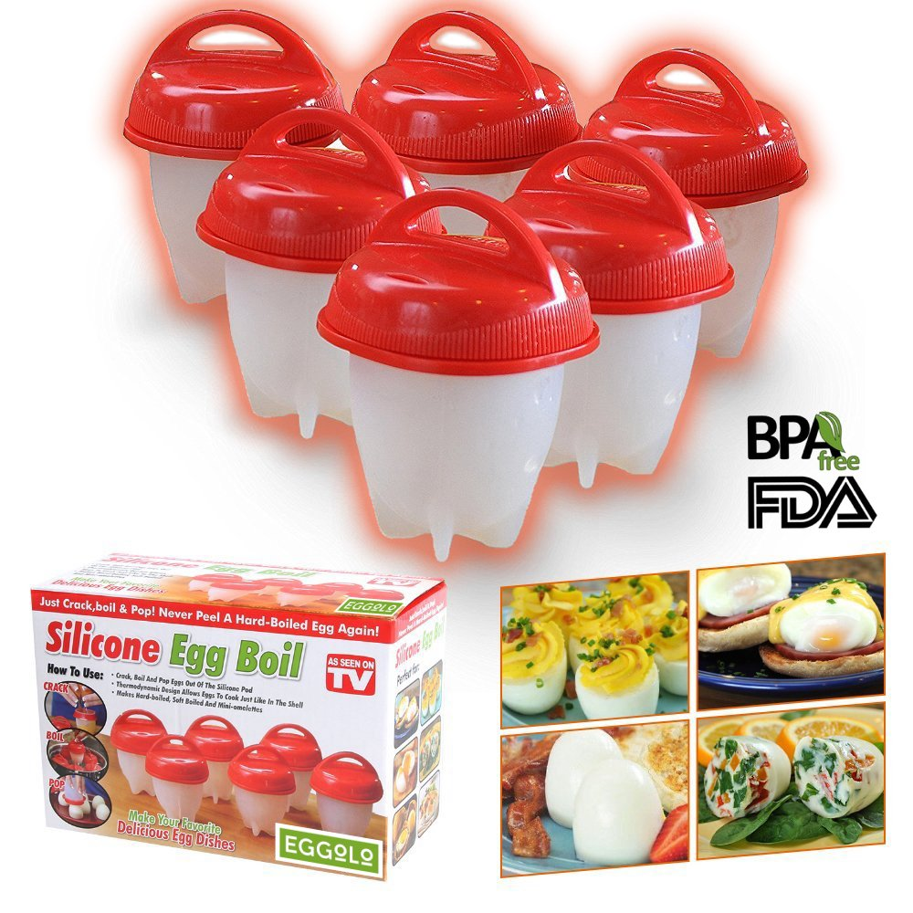 Egg Cooker Set, EGGOLO Non Stick Silicone Egg Cups, Boil Eggs without the Egg Shell, Poacher, Original, Steamer, Hard Boiled, BPA Free, AS SEEN ON TV (Pack of 6)