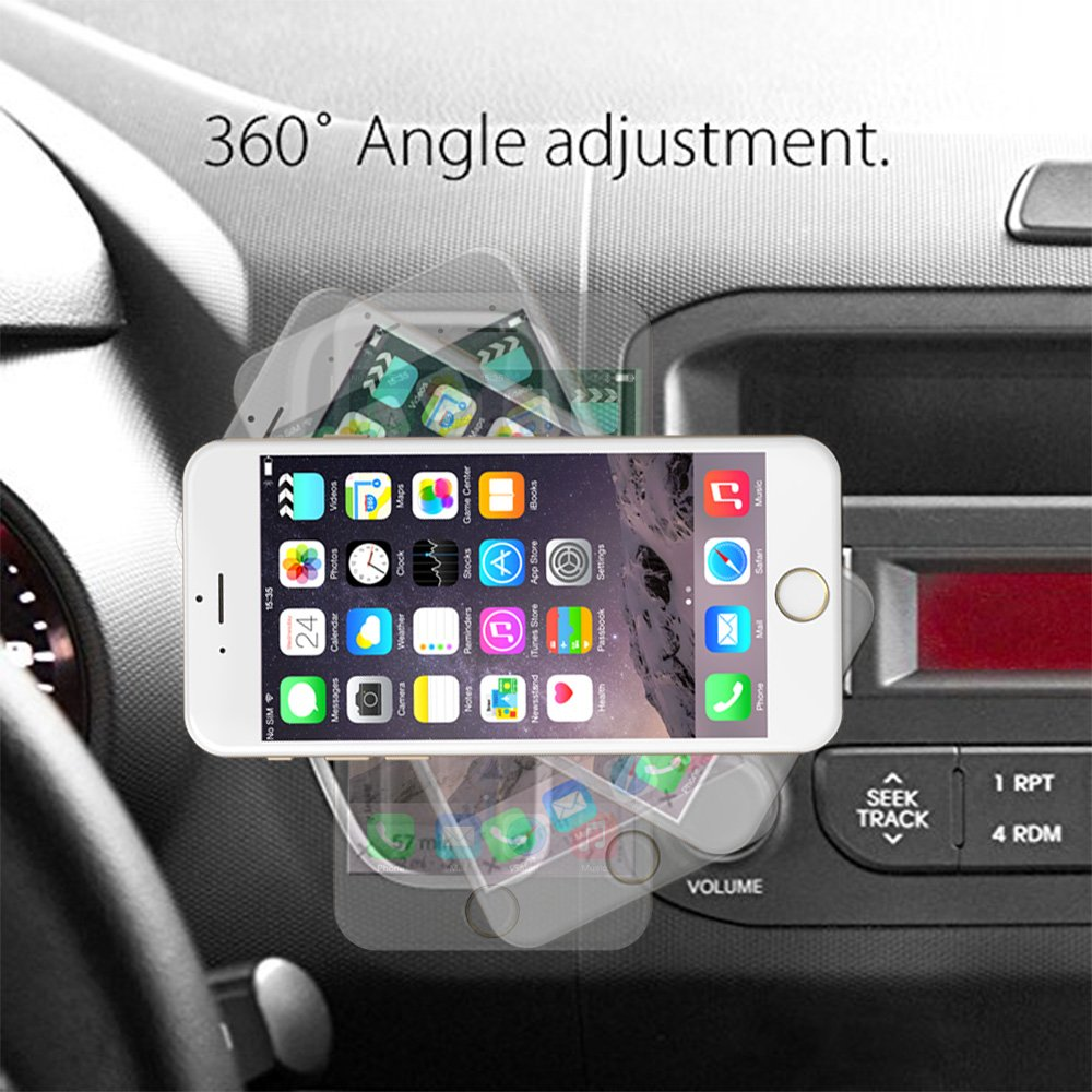 ROY POWER Car Metal Magnet Phone Holder Air Vent Mount 360° Rotation Compatible with All Cell Phones Models (Silver and Black) (Silver) by ROY POWER