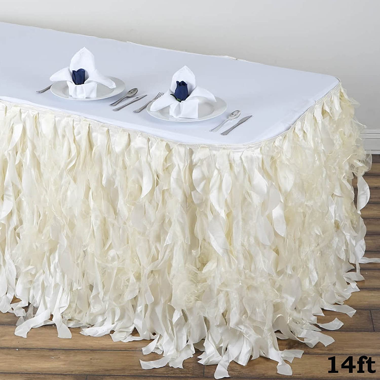 Black Efavormart 14ft Enchanting Curly Willow Taffeta Table Skirt for Kitchen Dining Catering Wedding Birthday Party Events