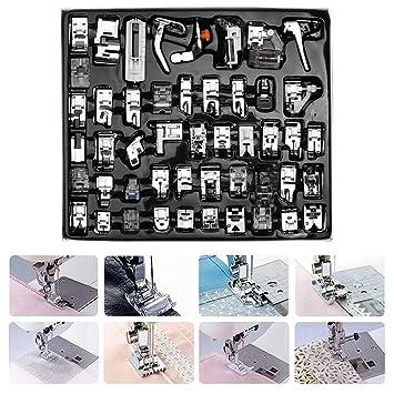 48 PC doméstica máquina de coser prensatelas pies Set profesional dobladillo pie Repuestos Accesorios: Amazon.es: Hogar