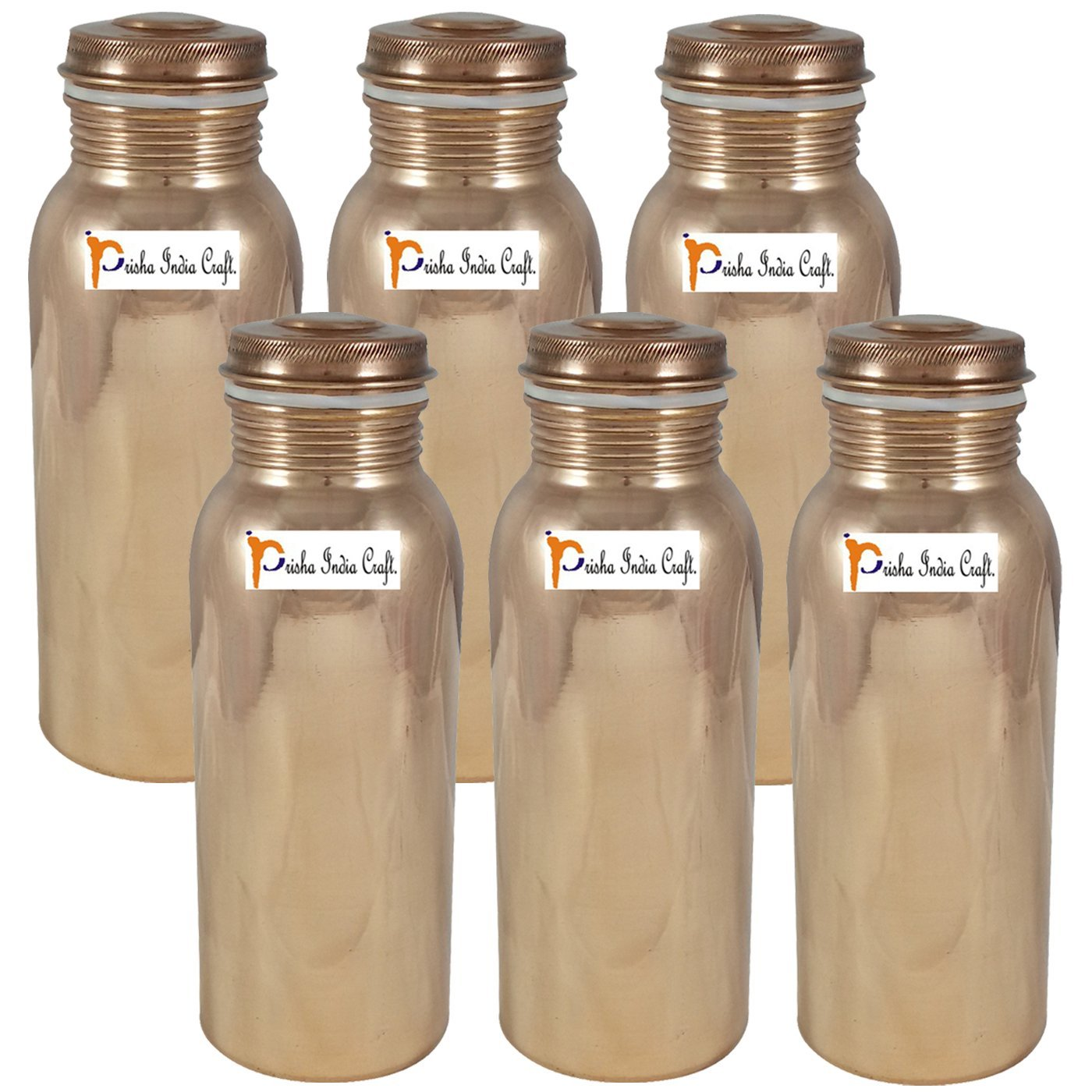 700ml / 23.67oz - Set of 6 - Prisha India Craft ® Pure Copper Water Bottle for Health Benefits - Handmade Water Bottles - Christmas Gift