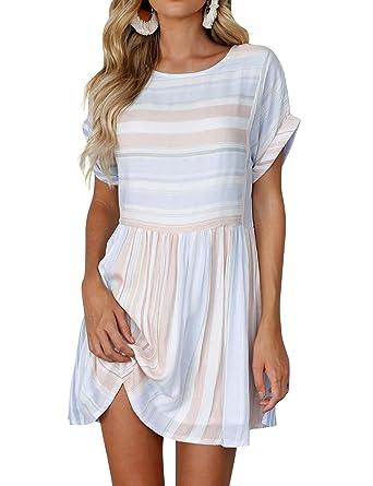 da419fec9dee WLLW Women Pleated Short Sleeve Round Neck Colorblock Striped Dress Blue