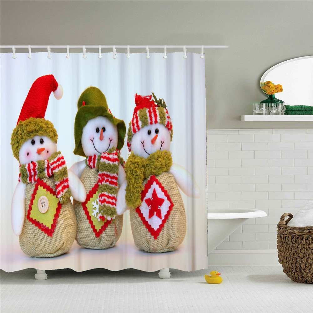 White Christmas Snowman Decor Bathroom Shower Curtain Sets Size 69 by 84 Inch SHCT