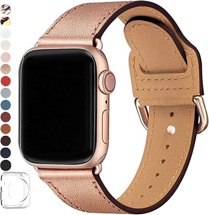POWER PRIMACY Bands Compatible with Apple Watch Band 38mm 40mm 42mm 44mm, Top Grain Leather Smart Watch Strap Compatible for Men Women iWatch Series 6 5 4 3 2 1,SE(Rose Gold/Rosegold,38mm/40mm)