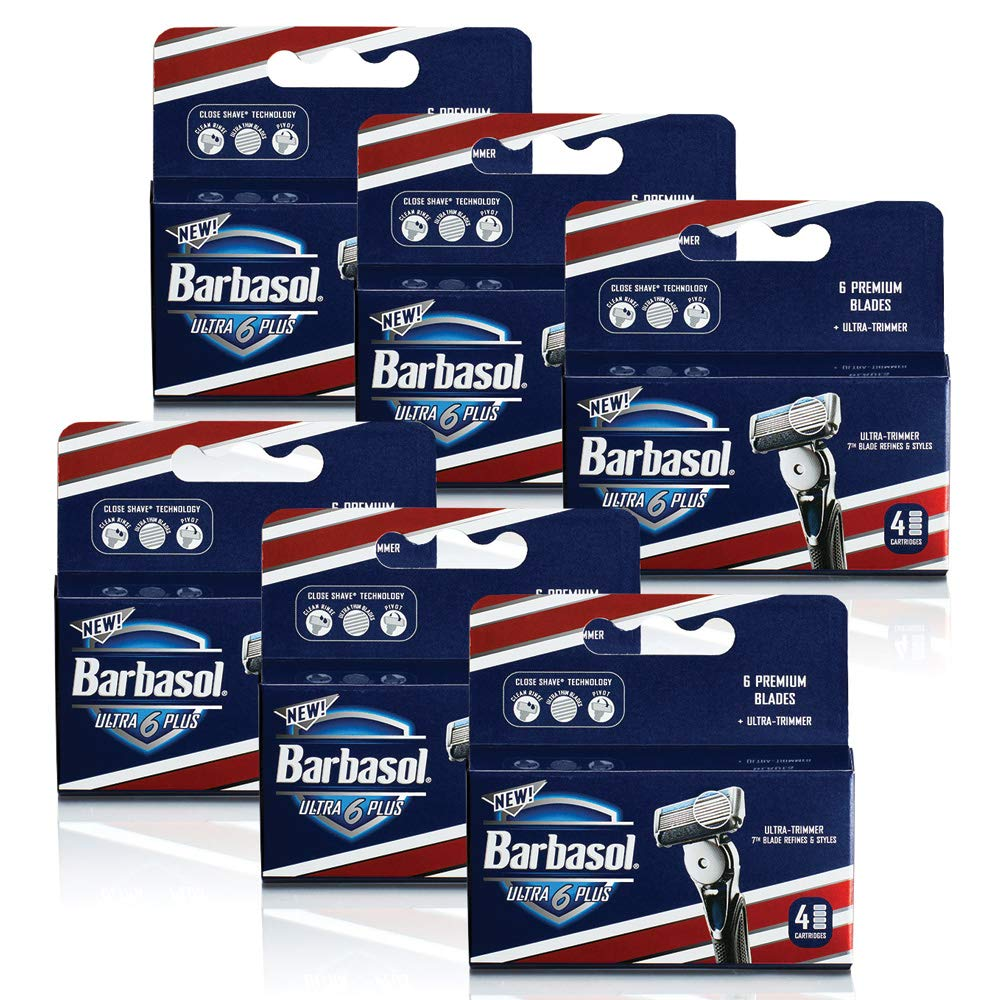 Barbasol Ultra 6 Plus Razor Blade Cartridge Refills Value Pack (6 packs/24 Refills) Perio Inc.