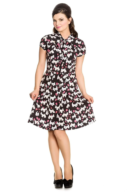 1940s Style Dresses and Clothing  Scottie Dog 40s Midi Dress $79.95 AT vintagedancer.com