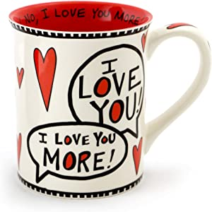 Enesco Love You Most Stoneware Mug, 16 oz, Red