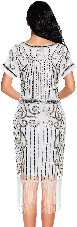 Womens Flapper Dress 1920s Gatsby Sequin Fringe Short Sleeve Cocktail Dresses