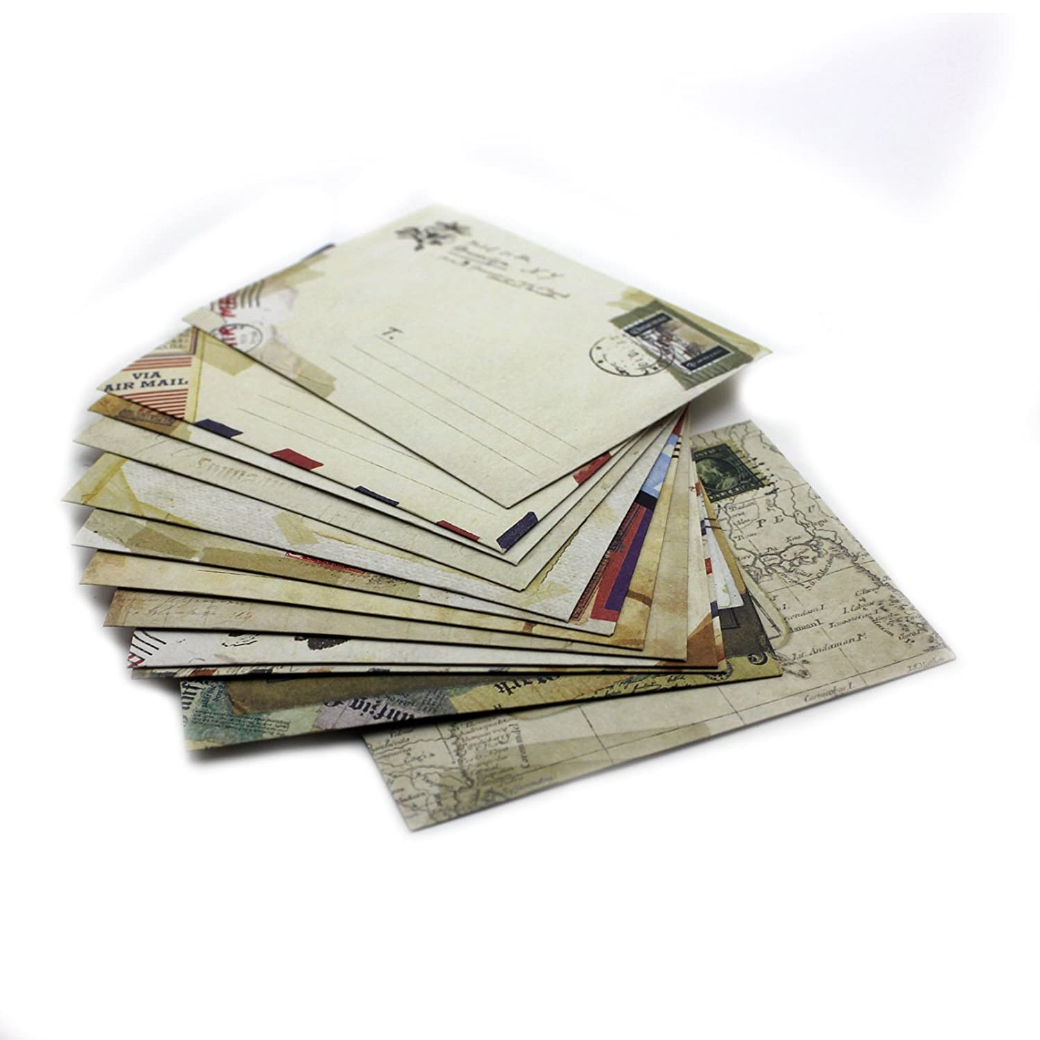 Set of 12 Vintage Mini / Small European Style Airmail Envelope for Greeting Cards Lau&Home