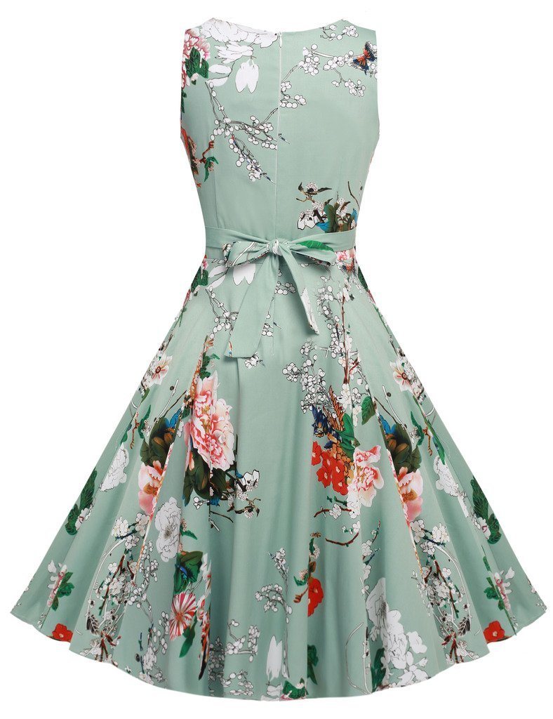 ARANEE Womens Classy Vintage Cocktail Party Style 1940's Rockabilly Evening Dress  XX-Large  Light Green Light Green XX-Large by ARANEE (Image #2)