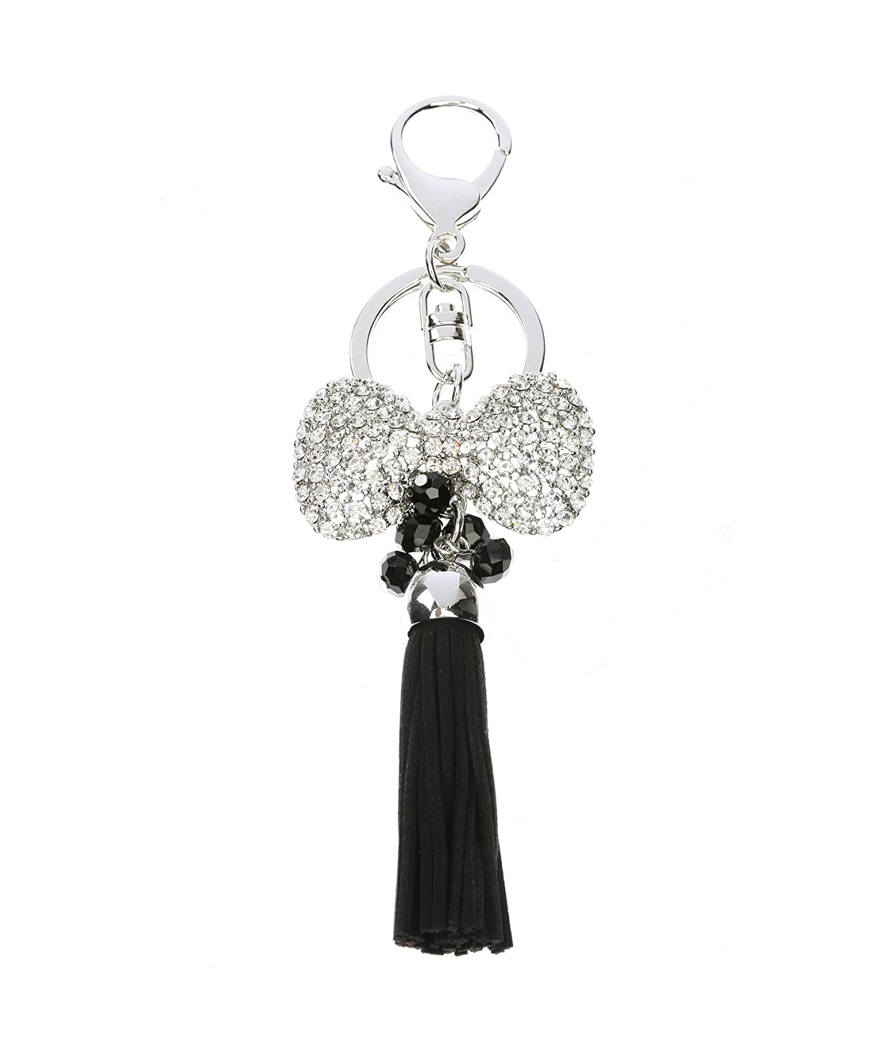 Bow and Tassle Keychain Encrusted with Rhinesotnes