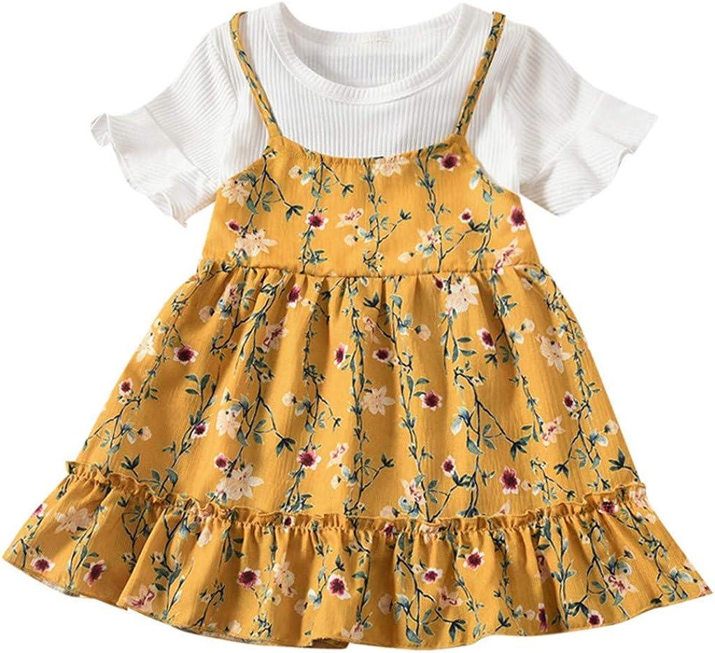 ASHOP - Vestidos niña de Princesa 2019 - Tutú Faldas de Fiesta -Estampado de Flores con Volantes de Manga de Mosca Vestido de Verano - 1-4 Años
