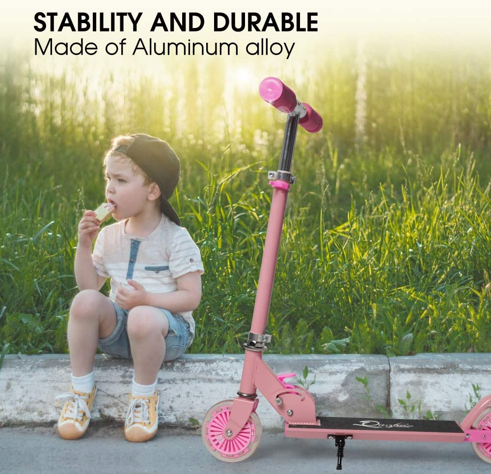 SUPER DADY Scooters for Kids Ages 4-10,Folding Kick Scooter with 2 LED Light Up Wheels for Girls Boys Child Toddler,3 Adjustable Handle Height