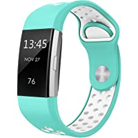 """Swees For Fitbit Charge 2 Bands Sport Silicone Small & Large (5.7"""" - 8.3""""), 3 Packs Breathable Replacement Bands with Air Holes for Fitbit Charge 2 Women Men, Black, Grey, Navy Blue, Pink, White, Teal"""