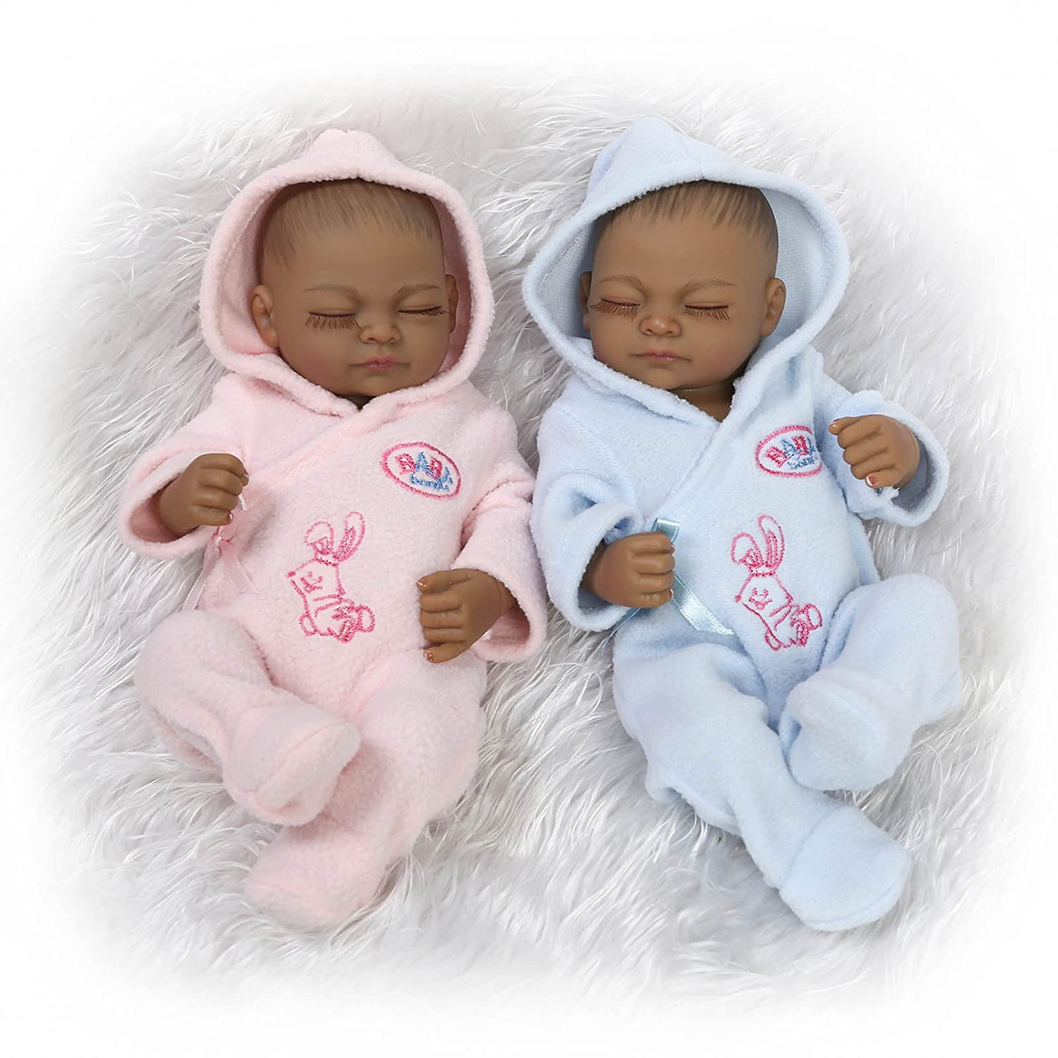Icradle twins dolls mini black reborn dolls 10 in 26cm full body silicone realstic looking premiee baby anatomically correct boy girl waterproof with