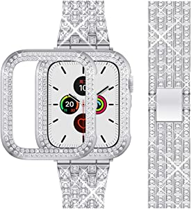 Beuxece Bling Band Compatible Apple Watch Band + Shining Case 38mm/40mm/42mm/44mm, iWatch Series 6/SE/5/4 3/2/1 band, Metal Jewelry Rhinestone Diamond Bracelet Wristband Strap Replacement for Women, Silver (38mm)