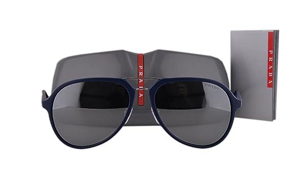 Amazon.com: Prada anteojos de sol ps05rs Azul de goma W/Gris ...