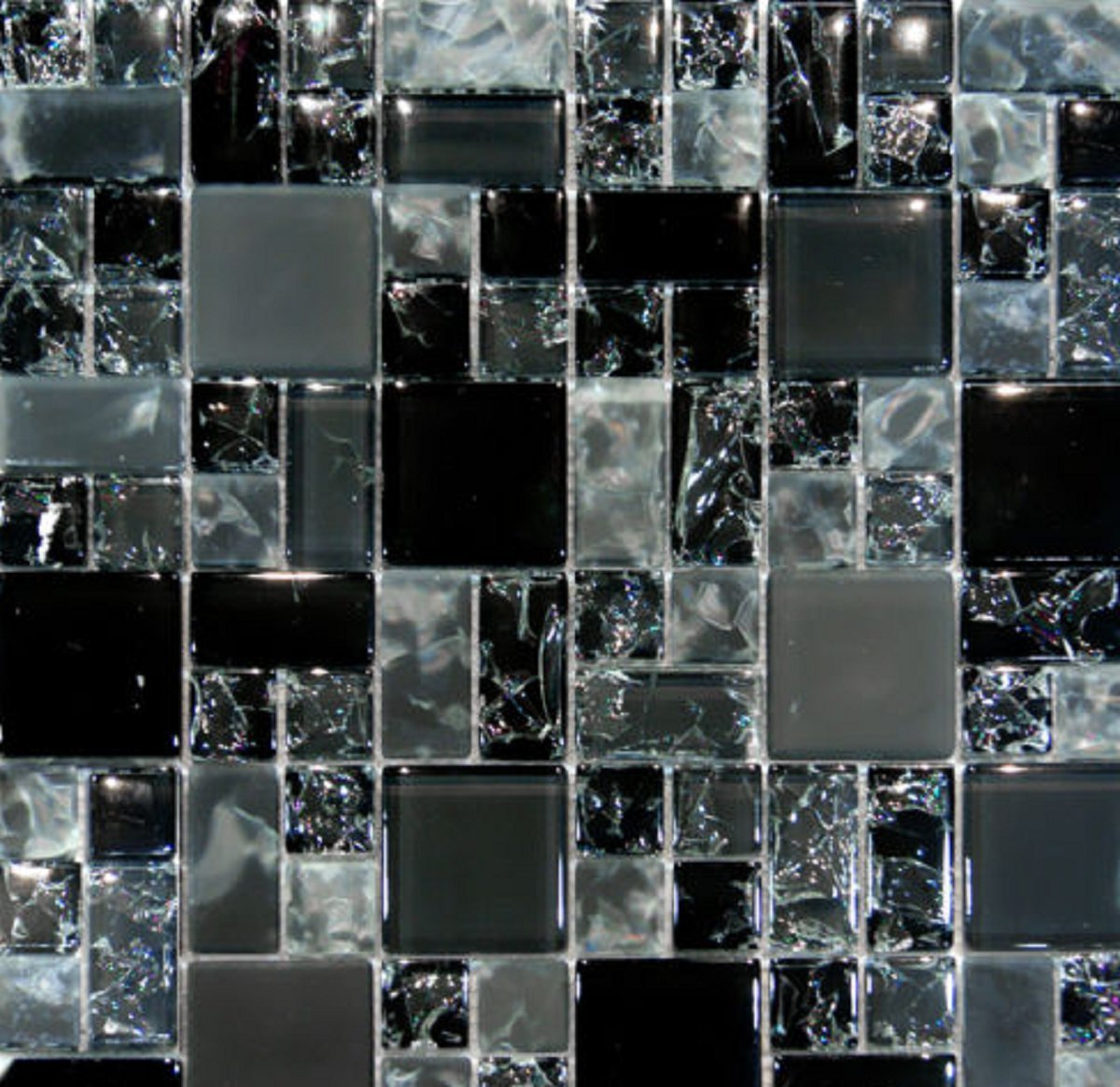 USA Premium Store 10SF-Black Polish & Matte Square Pattern Crackle Glass Mosaic Tile Backsplash by USA Premium Store