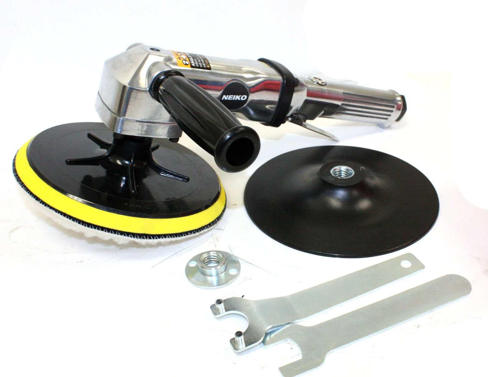 M2 Outlet 7'' Stainless Pneumatic Variable Speed 1,500-2,600 RPM Air Angle Polisher Buffer
