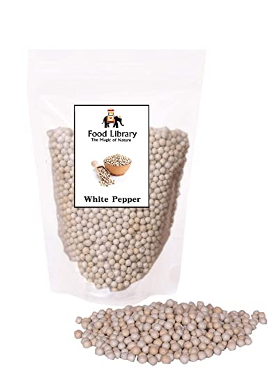 Food Library Whole White Peppercorn ( Sabut Safed Mirch ) (400gm)