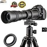Jintu Camera objectif 420–800mm f/8,3–16HD Téléobjectif mise au point manuelle objectif zoom pour Nikon D7100D80D90D600D800D5200D50D5100D3300D3200D7000D7200D5200D3100DSLR Digital Camera avec sac de transport gratuit Lether T2adaptateur de support