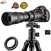 JINTU 420-800mm F/8.3-16 TOP Full Frame Manual Focus Telephoto Zoom Lens for Nikon D7100 D80 D90 D600 D5000 D5100 D3200 D7000 D7200 DSLR Digital Camera + Leather Bag Case