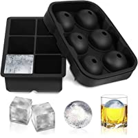 FSDUALWIN Ice Cube Trays 2 Pack, Sphere Round Ice Ball Maker & Large Square Ice Cube Mold for Chilling Bourbon Whiskey…