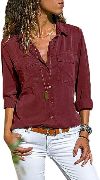 Moceal Blusa de manga larga para mujer con cuello en V, camisa de manga larga, monocromática, con botones: Amazon.es: Ropa y accesorios