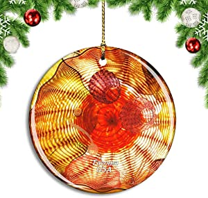 Weekino USA America Tacoma Chihuly Bridge of Glass Christmas Xmas Tree Ornament Decoration Hanging Pendant Decor City Travel Souvenir Collection Double Sided Porcelain 2.85 Inch