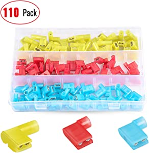 Nilight 50047R 110pcs Nylon Flag Spade Female Insulated Quick Disconnects 22-18 16-14 12-10 Gauge Flag Spade Electrical Crimp Terminals Connector Assortment Set