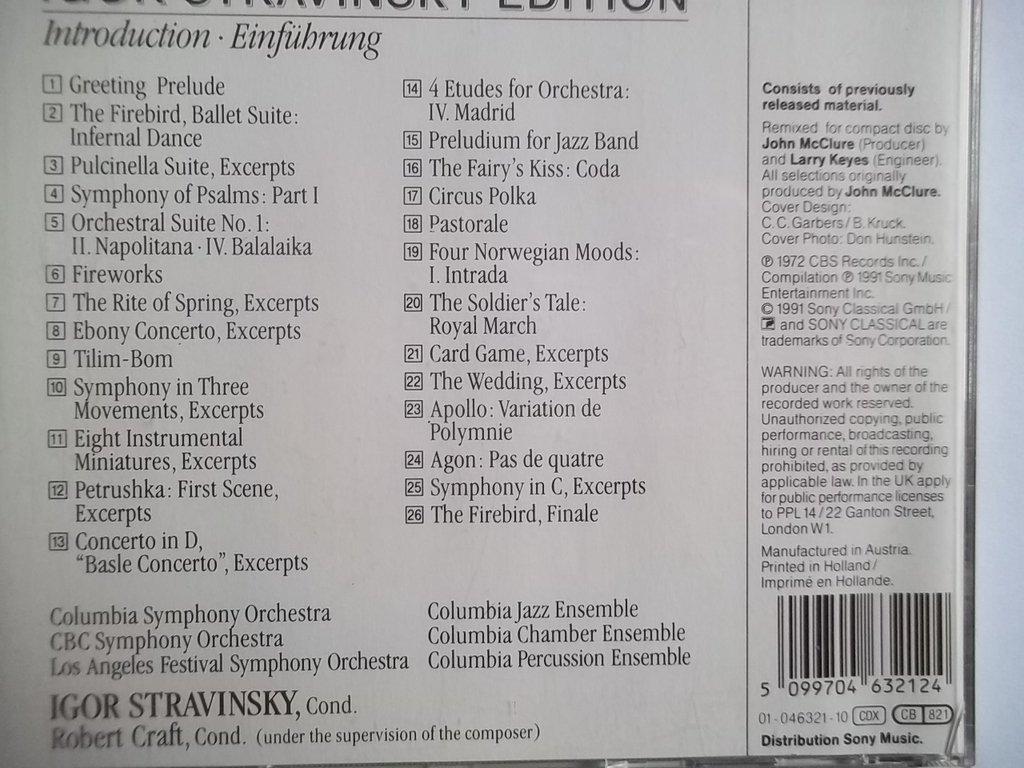 Igor Stravinsky Robert Craft Sxk 46 321 Igor Stravinsky Edition
