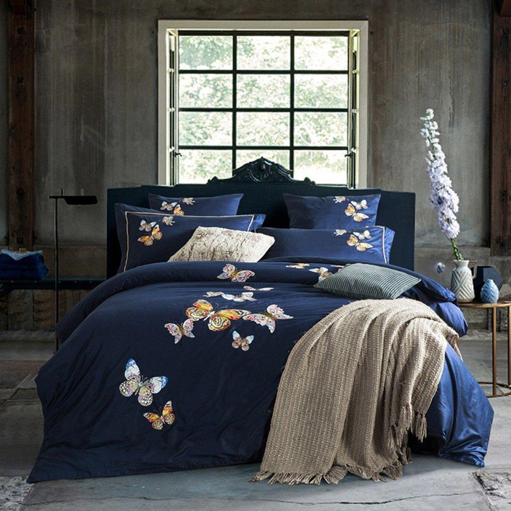 4個セット,な 純粋なコットン 掛け布団カバー シーツ寝具 ベッド キット-H B07F658R6H King|H H King