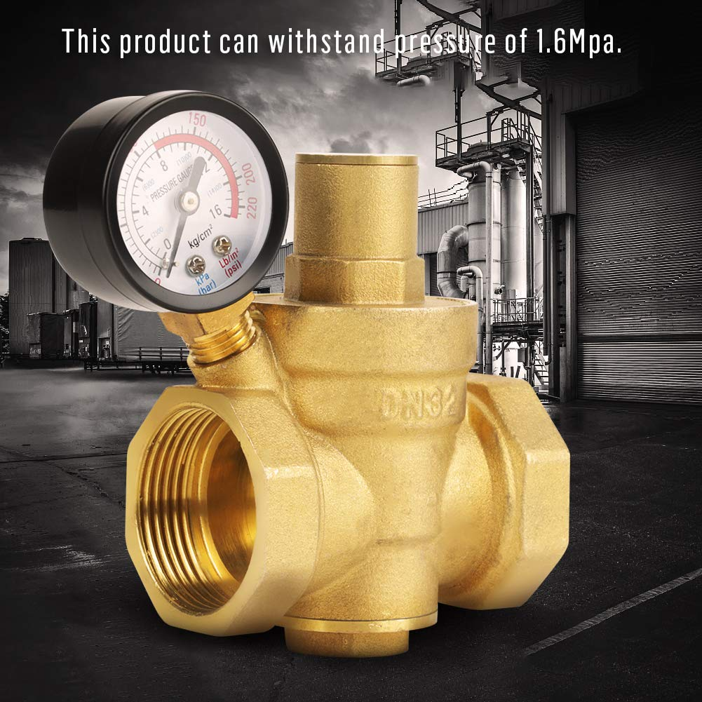 regulador de la presi/ón de agua a presi/ón hidr/áulica de 0,05/~ 0,8mpa 7,25/~ 116PSI V/álvula reductora de presi/ón de agua de DN32/con man/ómetro ajustable de lat/ón