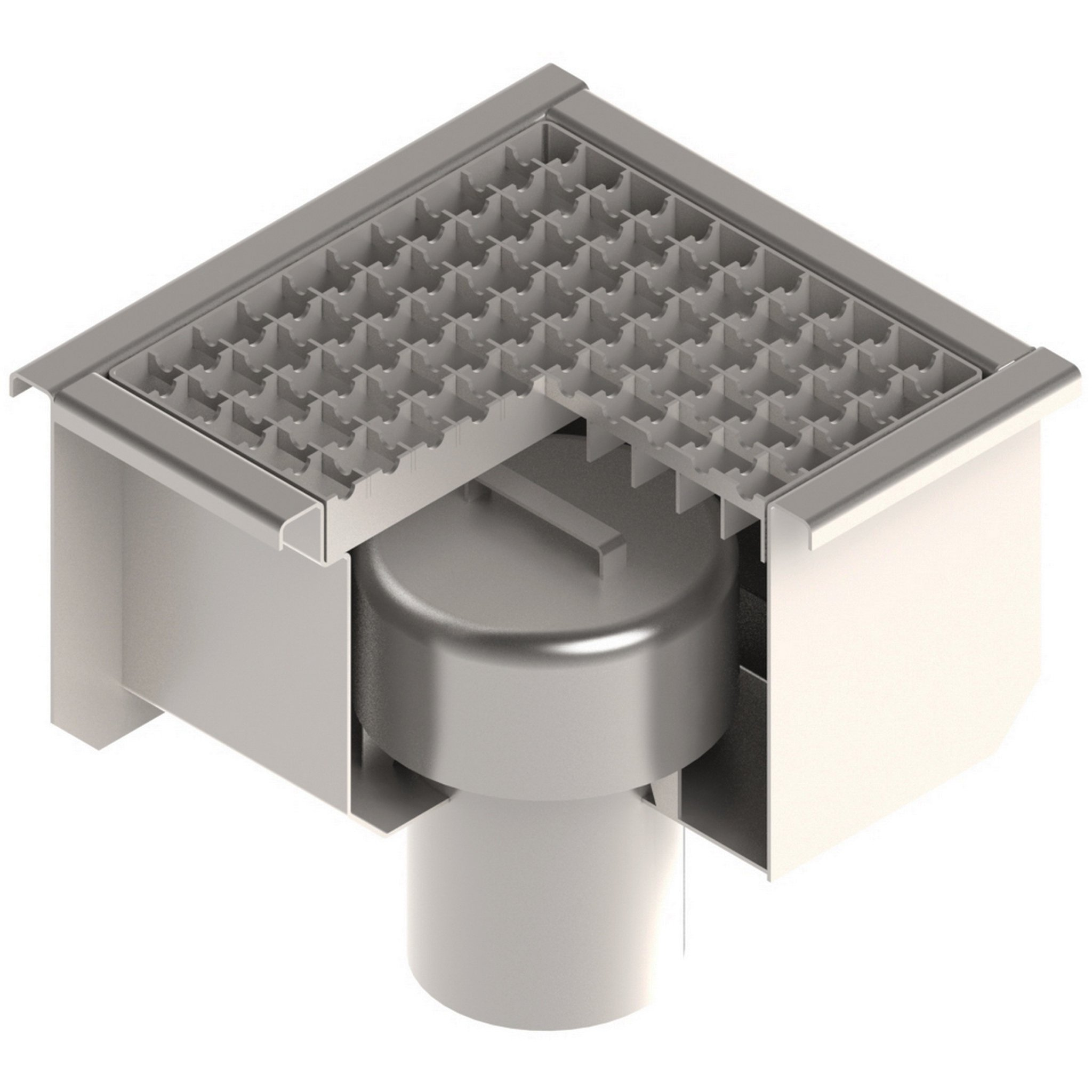 Standartpark - 12x12 Stainless Steel Floor Drain with Anti Slip Grate, Hydro Lock, and 4'' vertical outlet