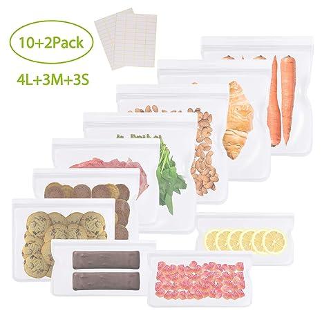 GVOO Bolsas de Almacenamiento para Alimentos,10 Bolsas Reutilizables para Almacenar Sándwich Verduras Frutas Cosmético Bolsas Congelar 100% a Prueba ...