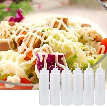 Botella de condimento apretable de 6 piezas, dispensador de botellas de plástico con tapas para