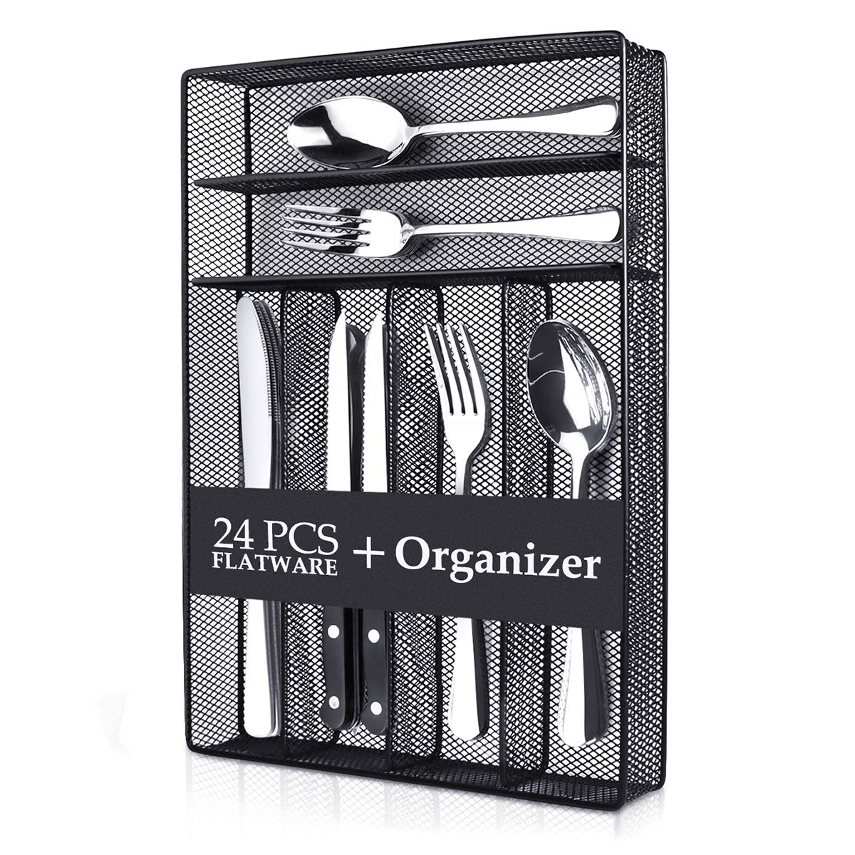 Teivio 20-Piece Silverware Set, Flatware Set Mirror Polished, Dishwasher Safe Service for 4, Include Knife/Fork/Spoon with 4 Steak Knife and Wire Mesh Steel Cutlery Holder Storage Trays